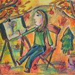 Шафеева Дина, 10 лет, «Право на образование. Я буду художником», масл. пастель, г. Стерлитамак, ДХШ № 1.