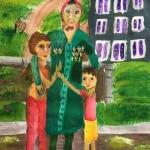 Громазина Аурика, 11 лет, С прабабушкой на 9 мая, гуашь, пр.Литвиненко Е.В.