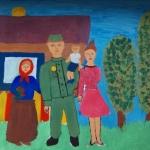 Рахсимбаева Софья, 9 лет. Отец вернулся с фронта, гуашь, пр.Курбатова Н.В.