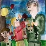 Сагадеева Елизавета, 10 лет, ''Поздравляем с Днём Победы!'', акварель, преп. Чистякова М.А.