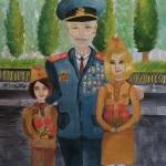Тупикина Анастасия, 11 лет, ''Мой прадед - герой!'', гуашь, преп. Чистякова М.А.