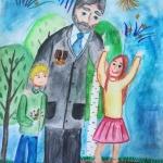 Валеева Азалия, 10 лет, С праздником, дедушка!, гуашь, пр.Гребнева О.И.