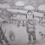Андреева Екатерина ,11 лет,Летчики, карандаш, пр.Вуколова Н.К.
