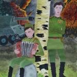 Кутлузаманова Миляуша, 12 лет, Мой дедушка-гармонист прошел войну, гуашь,пр.Литвиненко О.В.