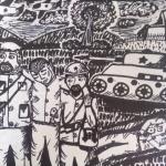 Ягафарова Эвелина, 12 лет, Суровая жизнь советской армии, маркер, пр.Лебедянцева Г.Ф.