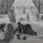 Гимадеева Камилла, 14 лет, Блокадный Ленинград. За водой, гел.ручка, пр.Литвиненко О.В.