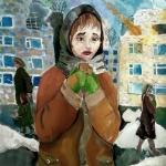 Ямансарова Радмилла, 13 лет,  Кусок хлеба, гуашь, пр. Вилянова А.Ю.