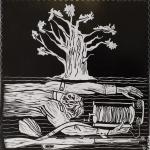 Акунаева Аделина, 17 лет, Я еще жив! По повести Мустая Карима Долгое долгое детство, гравюра на пластике, пр.Махмутов С.М.