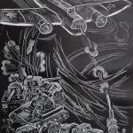 Ипатова Марина, 14 лет, Подвиг экипажа Николая Гастелло, гравюра на пластике, пр.Мазхмутов С.М.