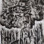 Жидкова Дарья, 14 лет, А в Вечном огне вижу вспыхнувший танк.., горящее сердце солдата!, гравюра на орг.стекле, сухая игла, пр.Махмутов С.М.
