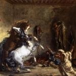 8 Делакруа. борьба арабских лошадей в конюшне